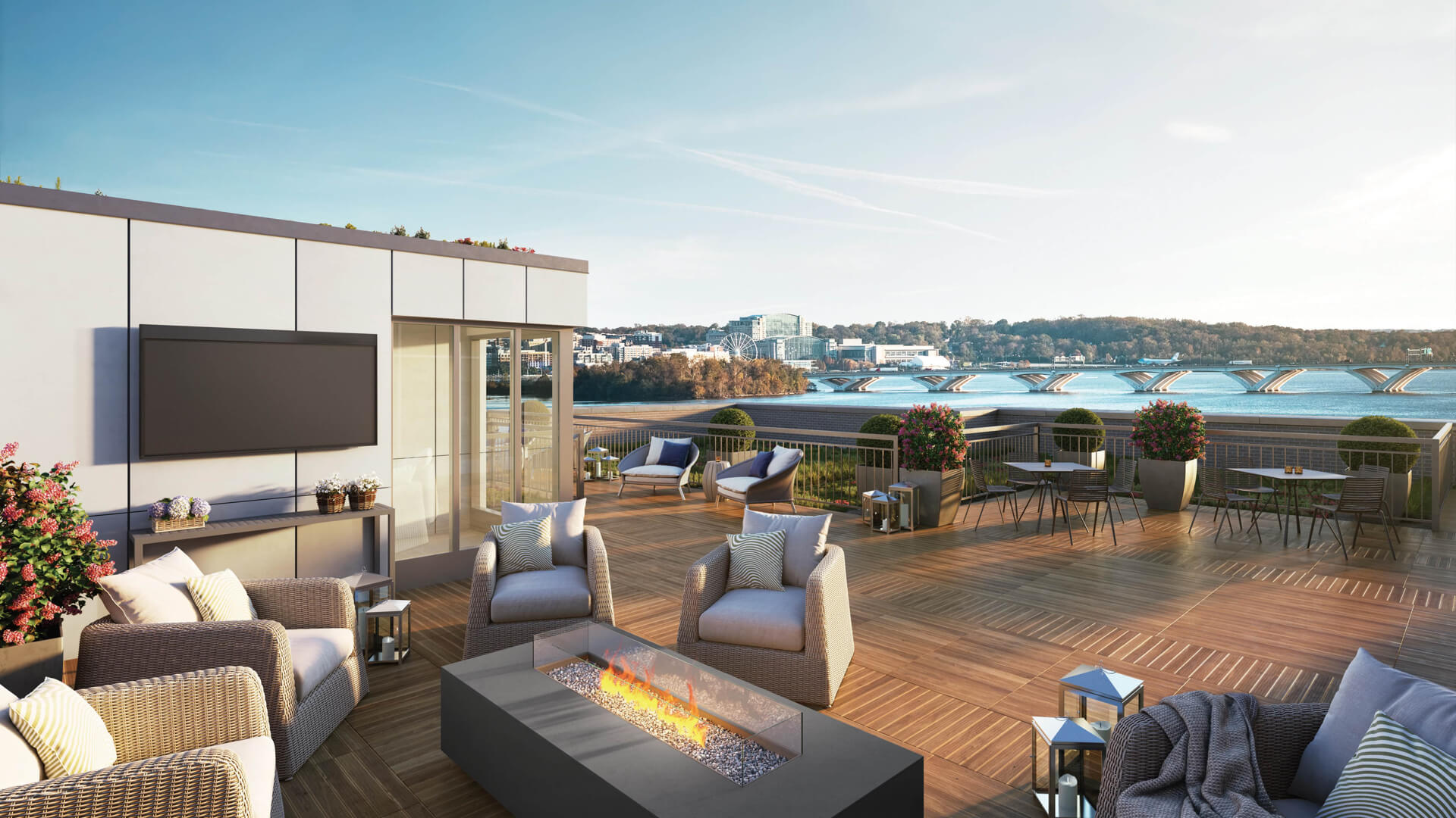 Future view of National Harbor and the river from the rooftop space at Venue